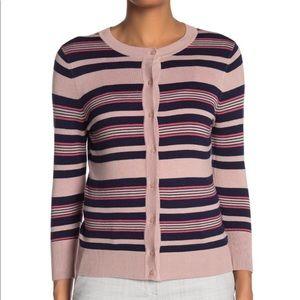 🌻Halogen Striped Crew Neck Cardigan Pink Size SP.